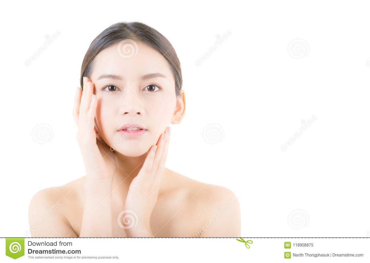Beautiful girl with makeup, woman and skin care concept / attractive asia girl smilling on face isolated
