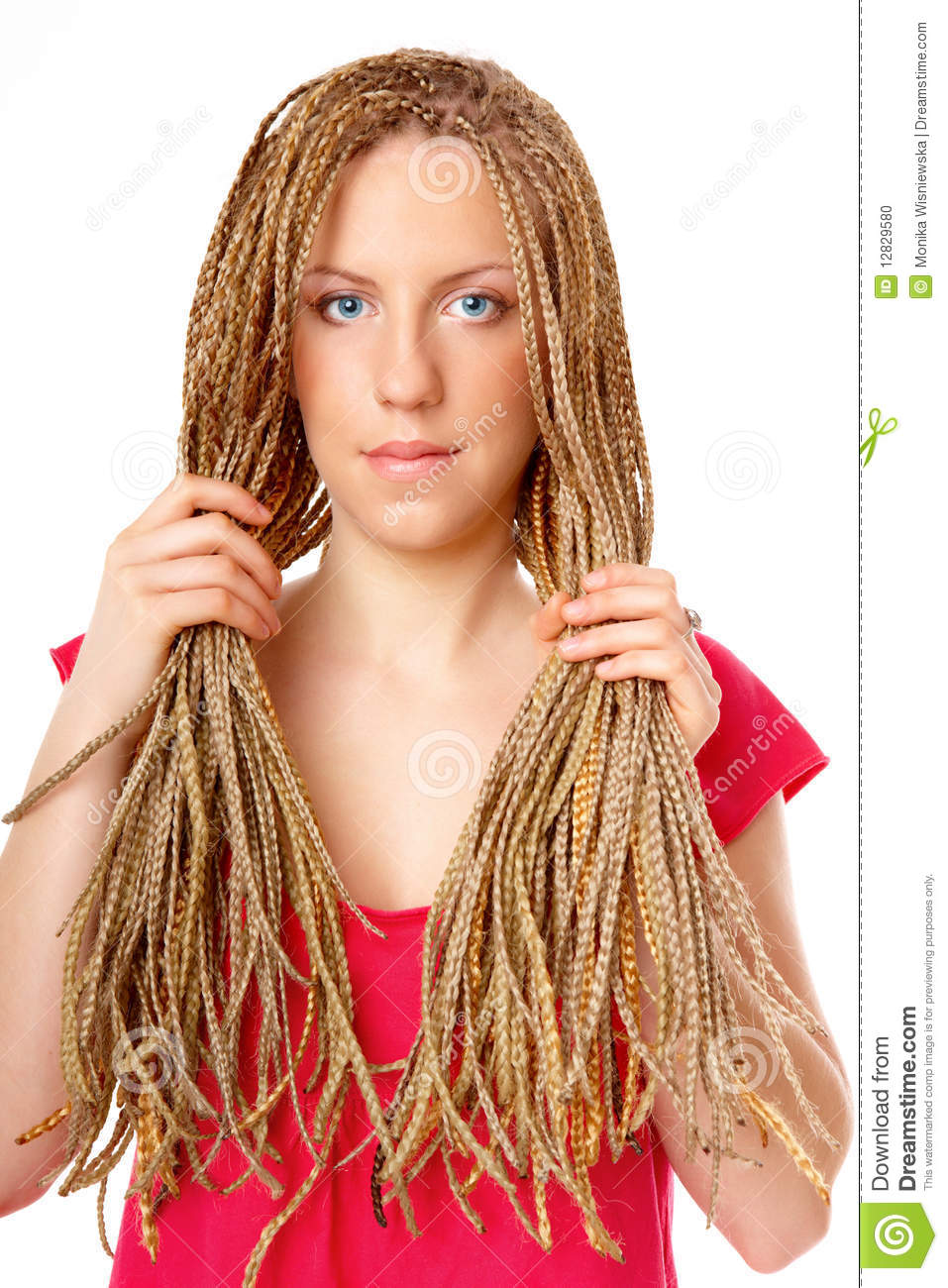 Beautiful Girl Many Plaits Hairstyle Holding Hair Stock