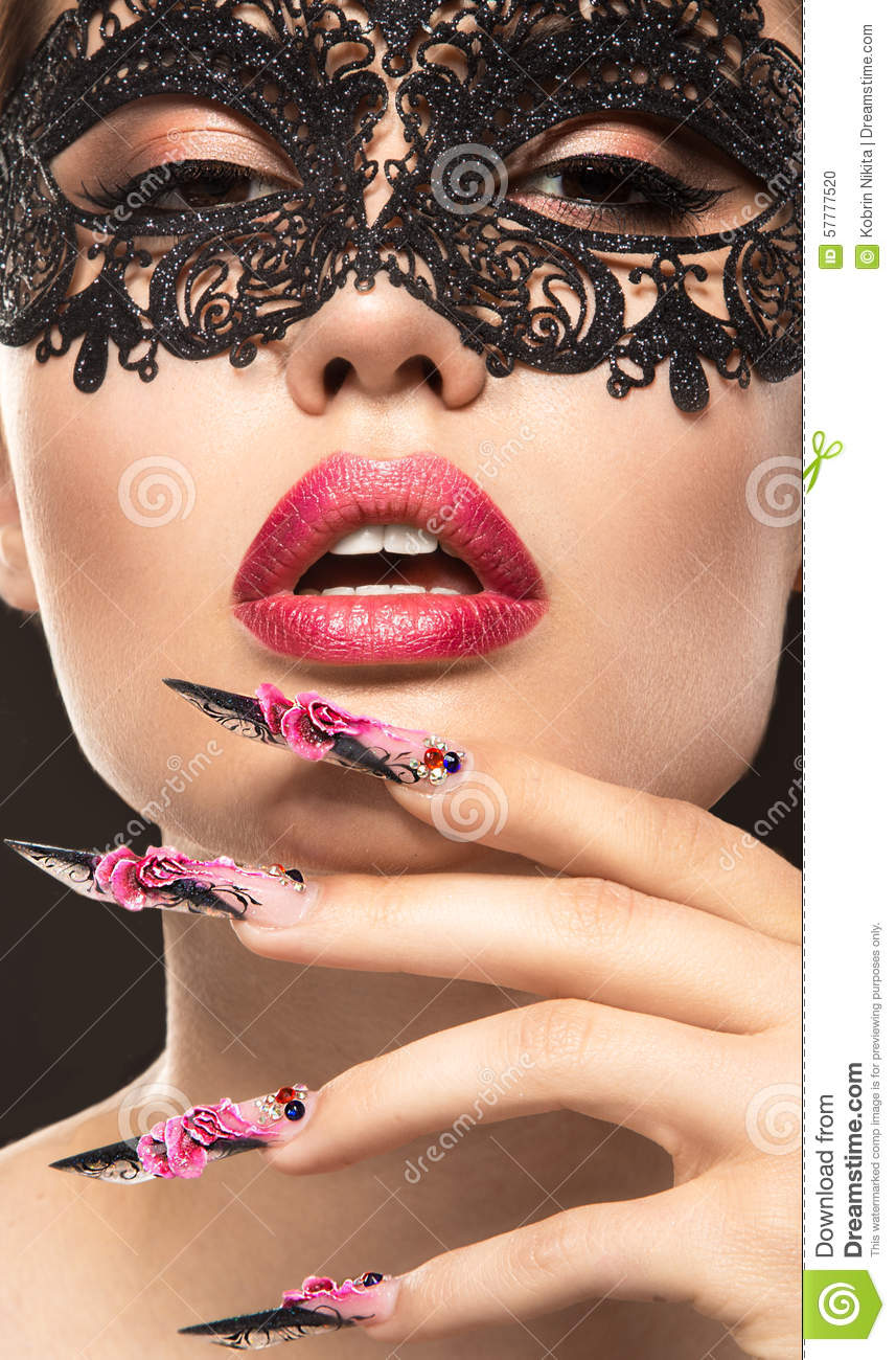 Beautiful Girl In Mask With Long Nails And Sensual Stock Photo ...