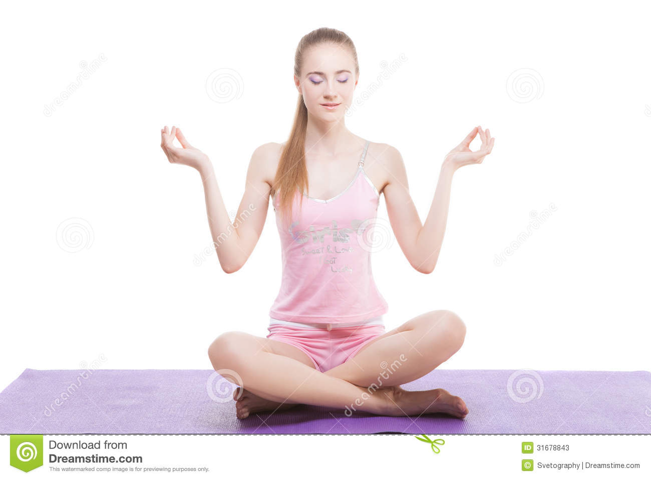 Beautiful Girl Meditating Stock Image Image Of White