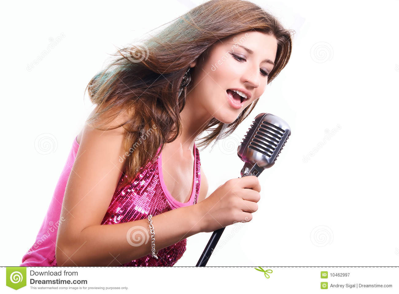Beautiful Girl With A Microphone Singing A Song Royalty Free Stock ...