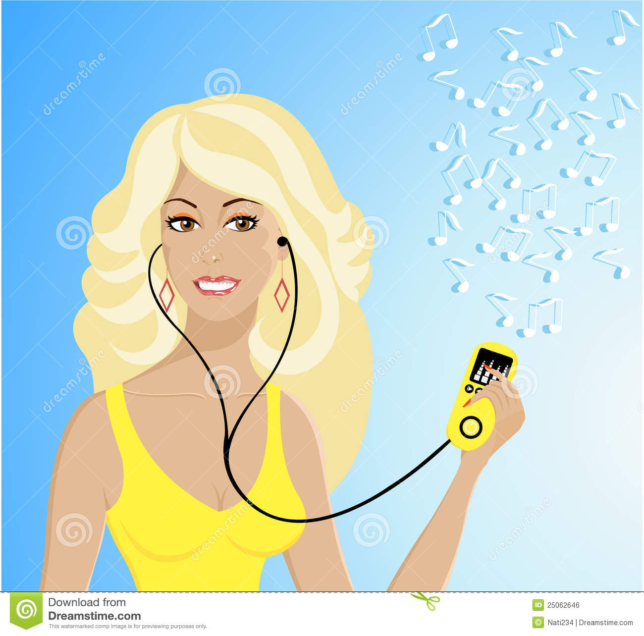 Beautiful Girl With Mp3-player Listening The Music Stock
