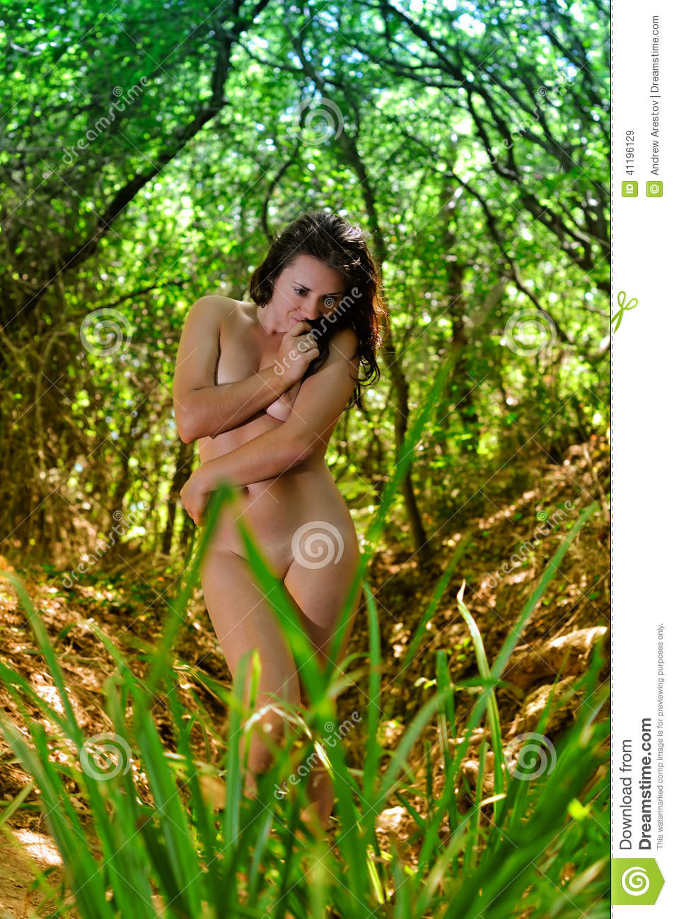 Beautiful Girl Naked In The Woods Stock Image - Image Of