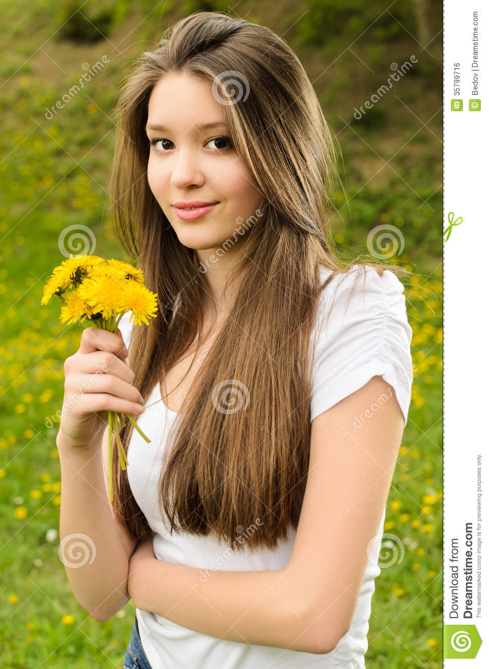 beautiful girl in nature stock photo image of health