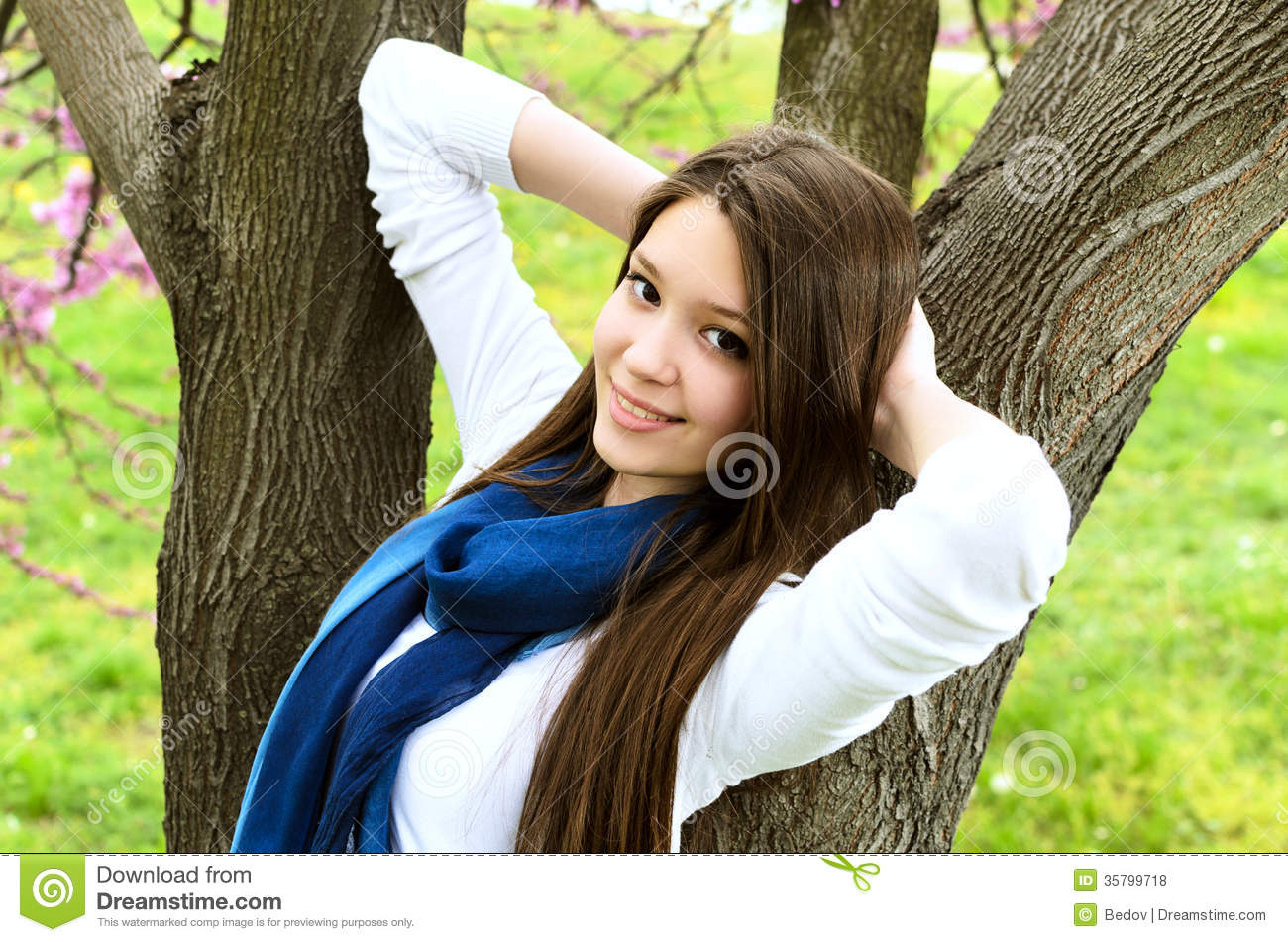 beautiful girl in nature stock photo image of meadow