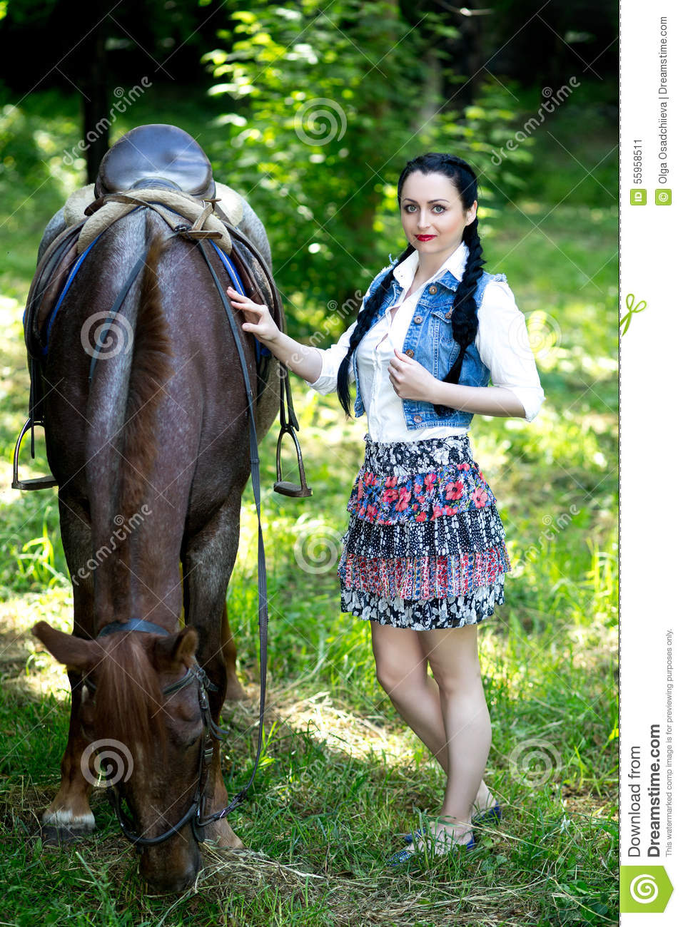 Beautiful Girl Near Brown Horse Stock Image Image Of Horse Nature