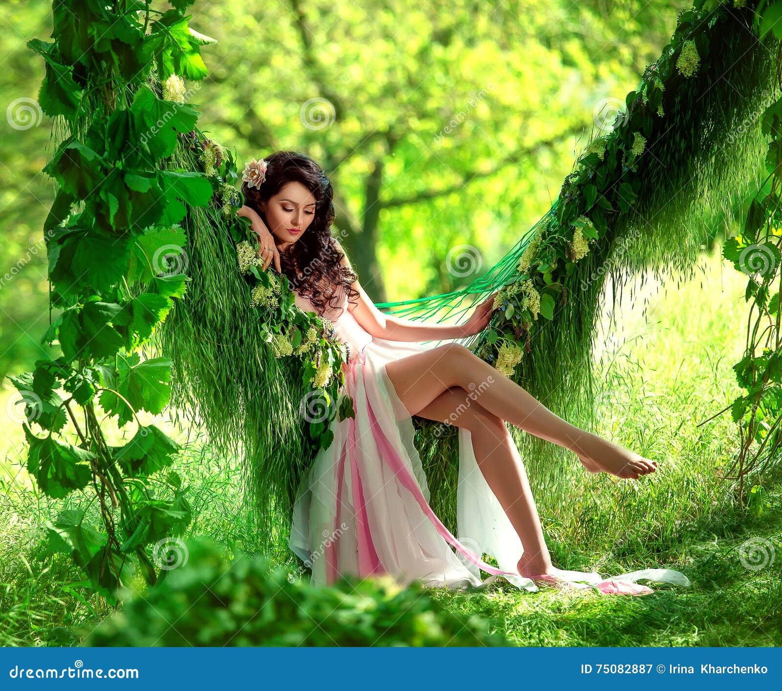 Beautiful Nature Girl Wallpaper: Beautiful Girl In Pale Pink Dress Stock Image