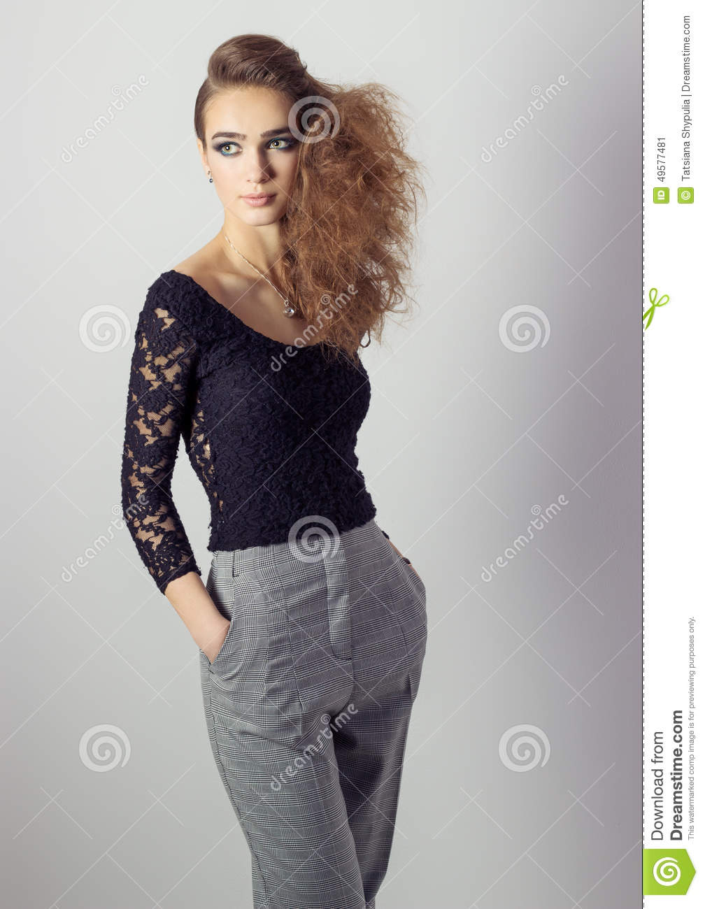 Black t shirt style - Background Beautiful Black Business Girl Hairstyle Make Pants Shirt Studio Style