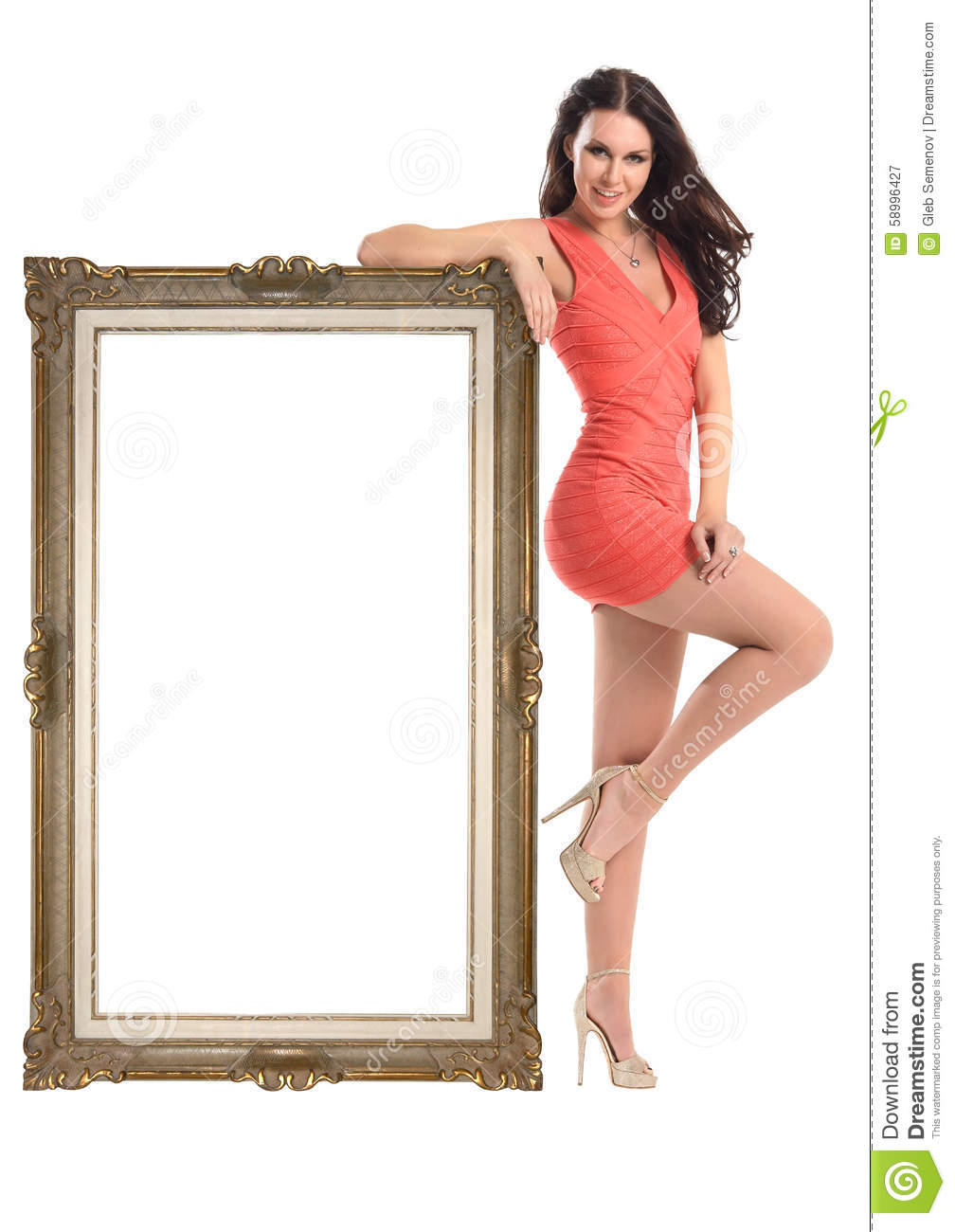 Beautiful girl with picture frame isolated on white