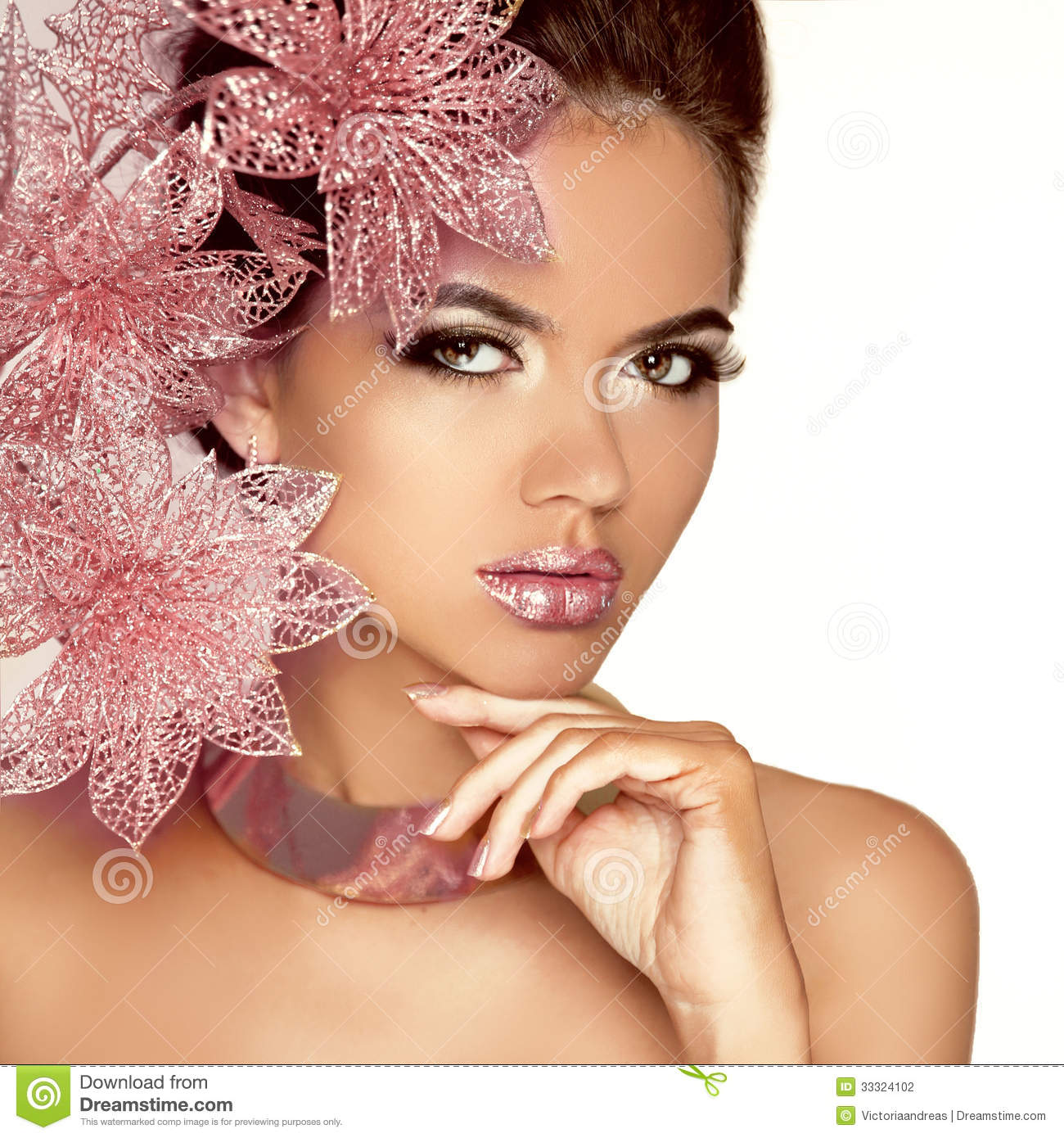 Beautiful Girl With Pink Flowers. Beauty Model Woman Face