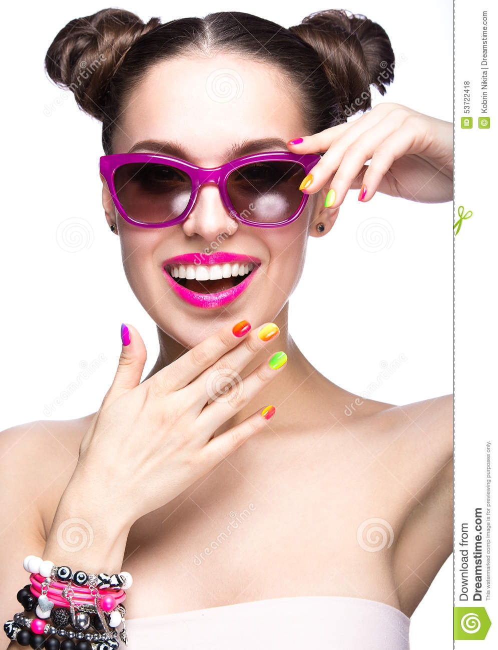 Girl With Bright Colorful Makeup Royalty-Free Stock ...