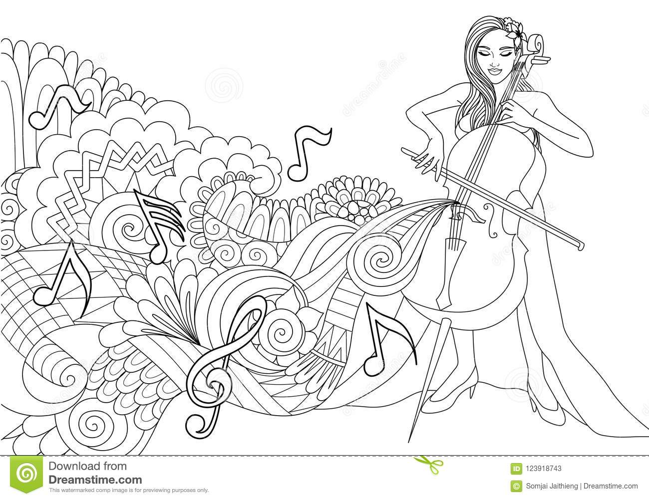 Beautiful Girl Playing Cello With Abstract Music Wave And Notes For ...