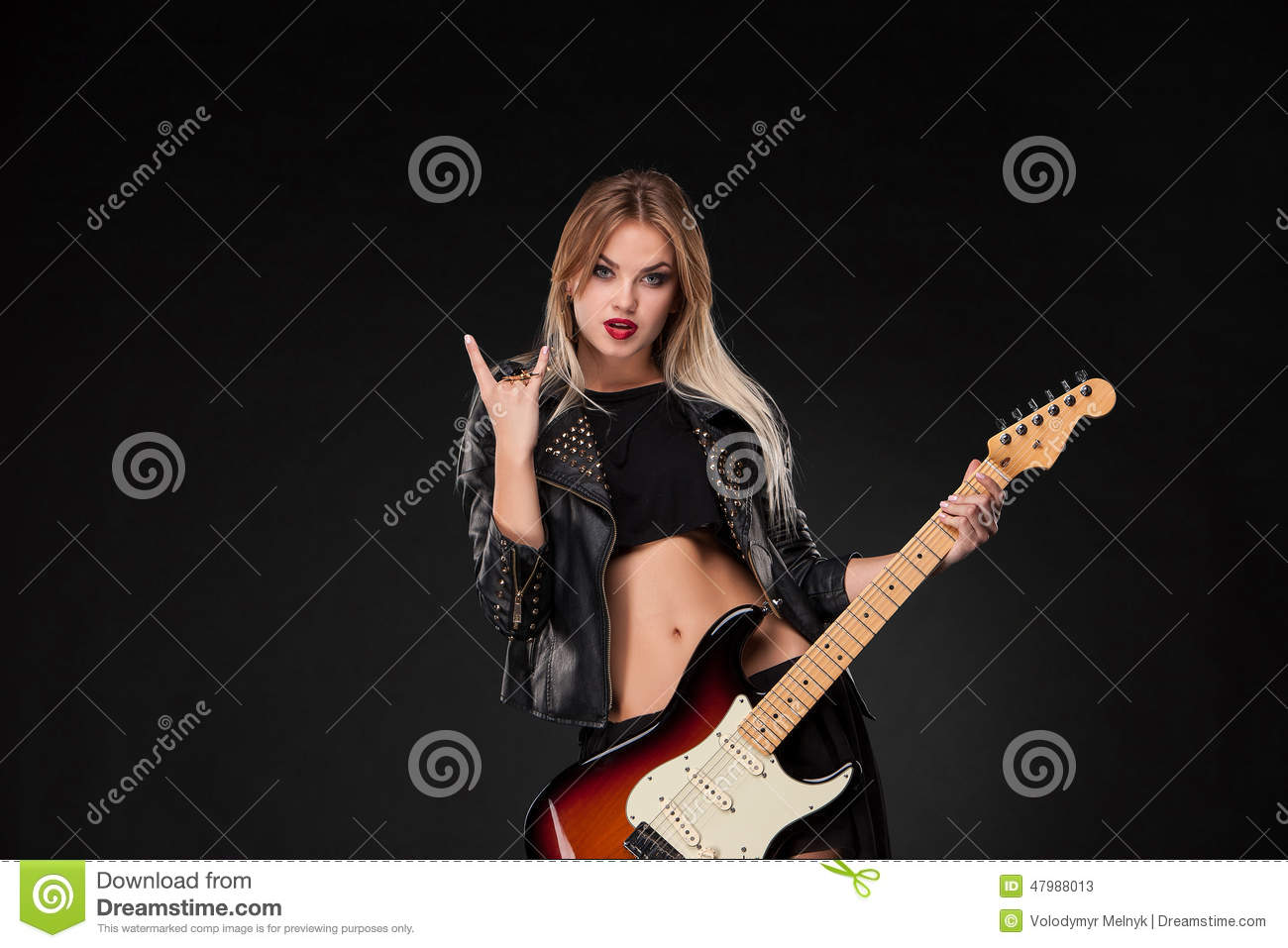 beautiful girl playing guitar stock image image 47988013. Black Bedroom Furniture Sets. Home Design Ideas