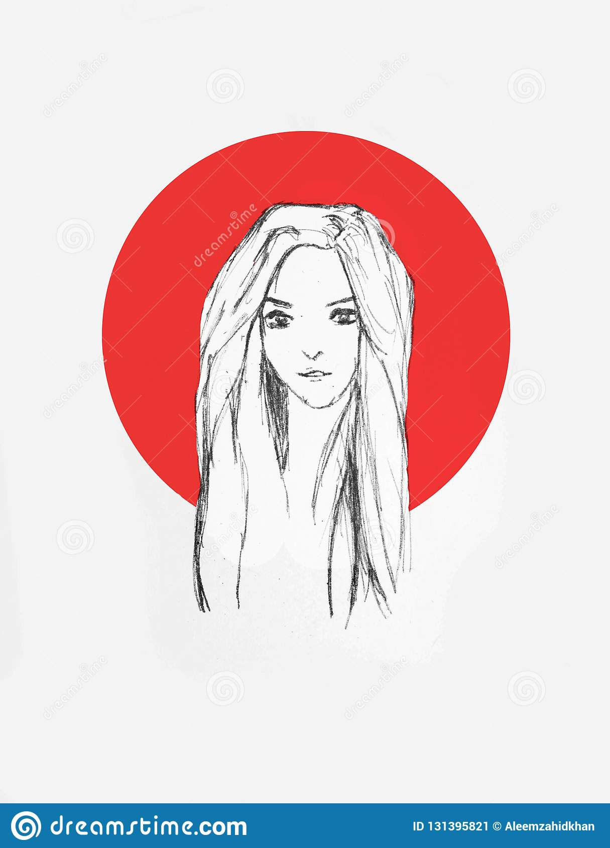 Beautiful girl portrait pencil sketch of an anime girl with red circle on the background