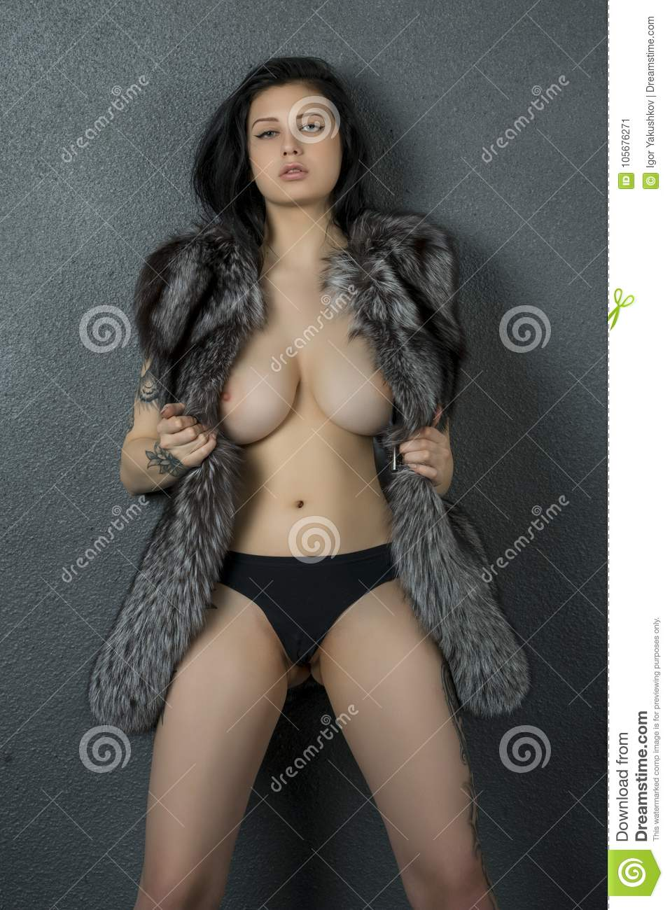 Naked girl fur coat simply matchless