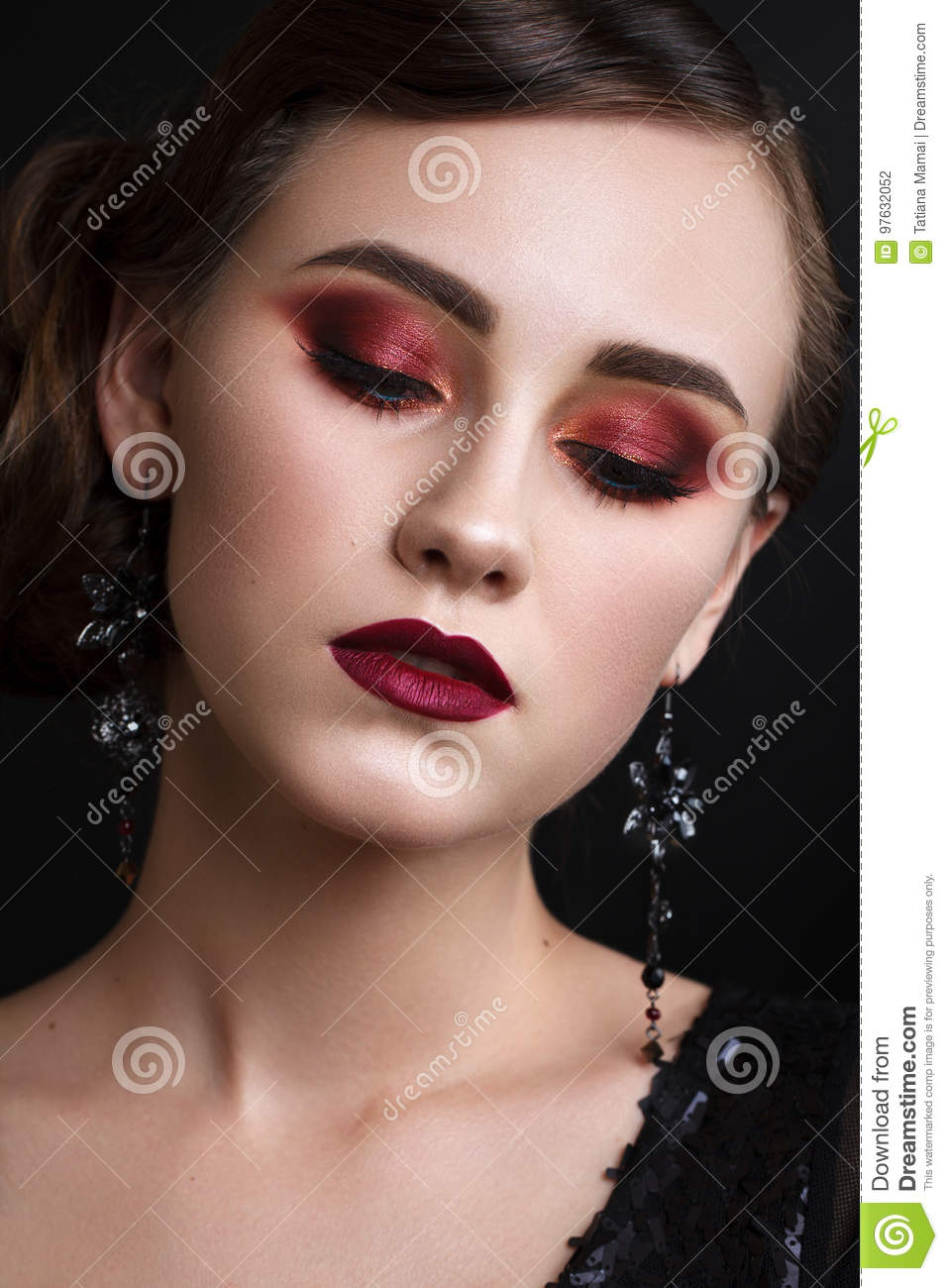 Beautiful Girl With Professional Colorful Makeup In Retro Style