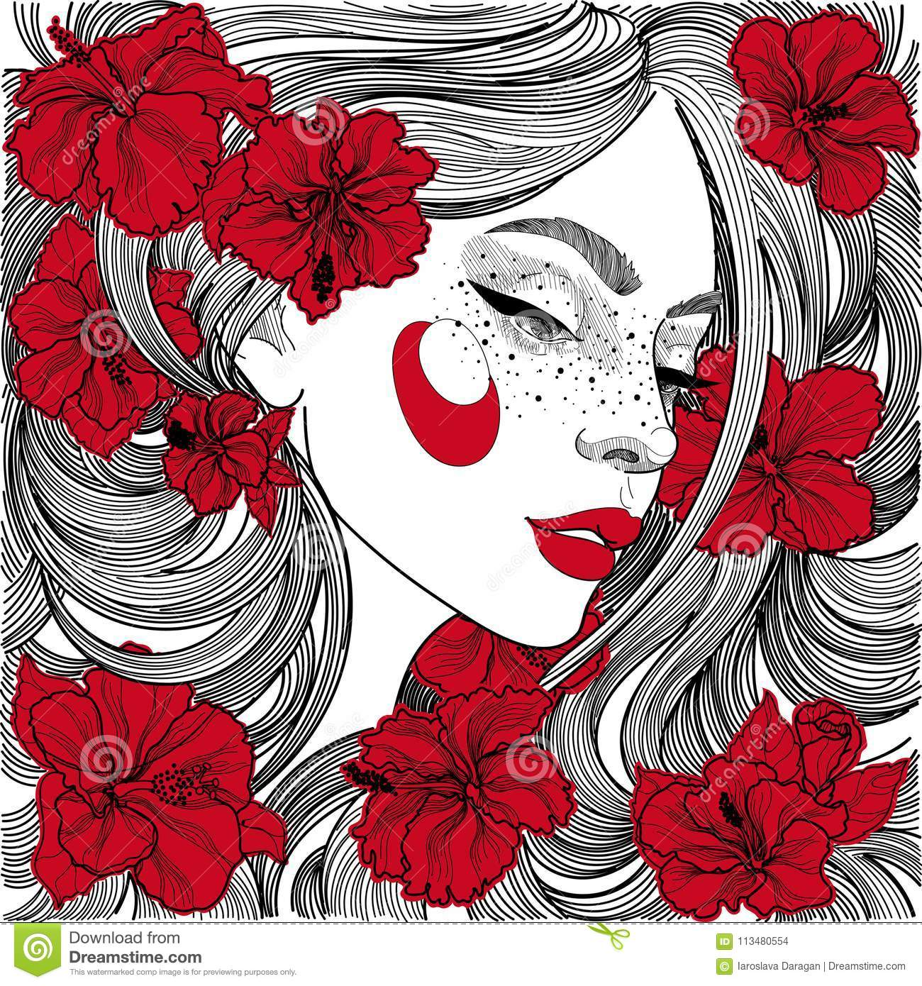Beautiful Girl In Profile With Red Flowers In Hair Stock Vector ...