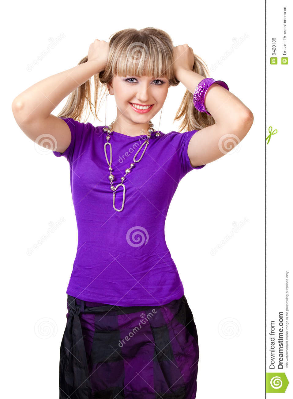 beautiful girl in purple clothes with silver neckl stock