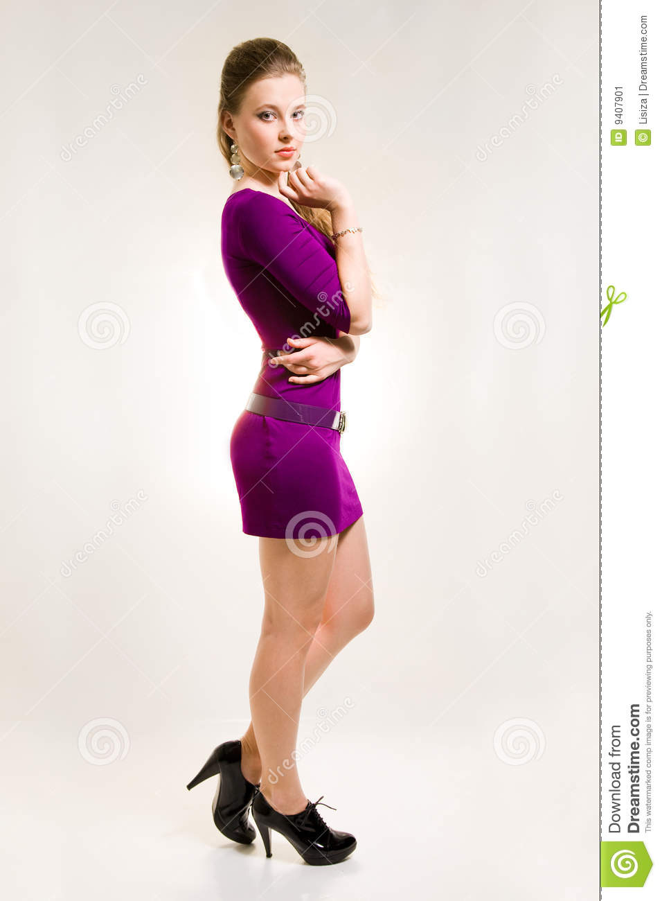Beautiful Girl In Purple Dress And Black Shoes Stock Image - Image ...