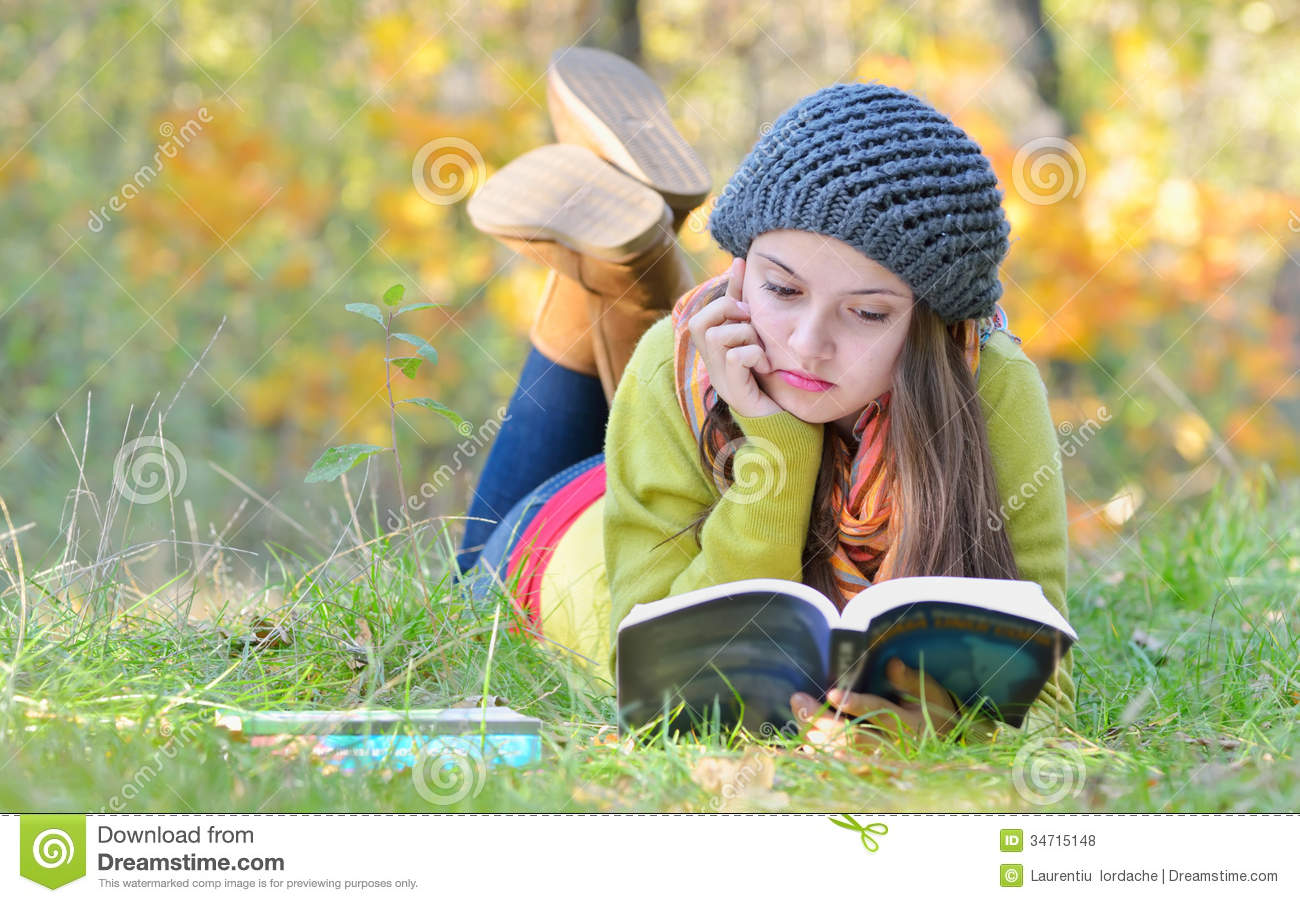Beautiful Girl Reading A Book Outdoor Stock Photo Image Of