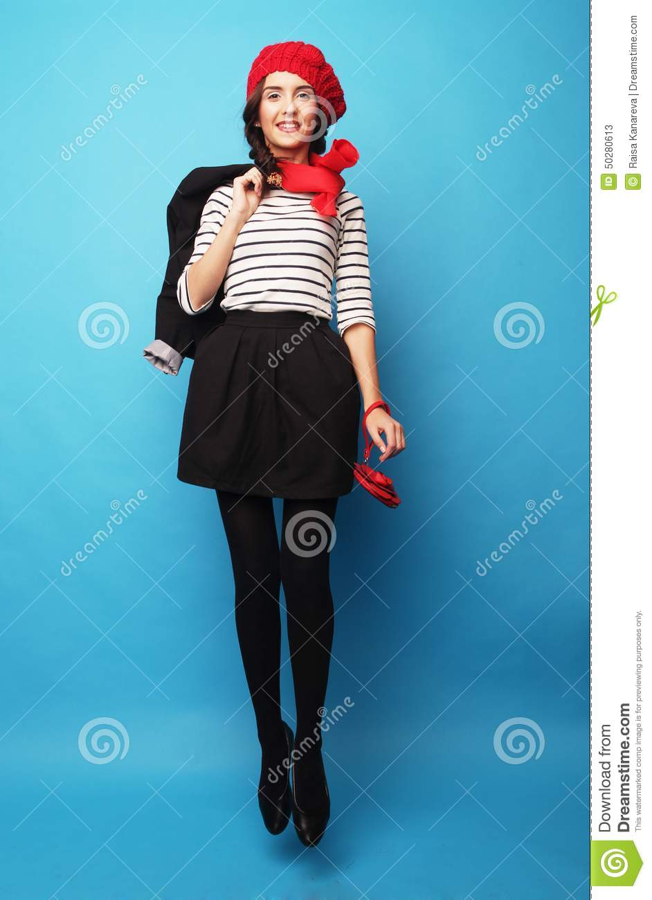 ba1d7829fcd8e Beautiful Girl In A Red Beret. French Style. Stock Image - Image of ...