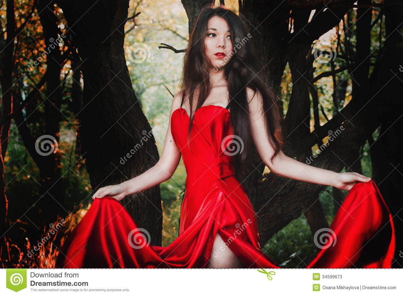Beautiful Girl In Red Dress Stock Photos - Image: 34599673