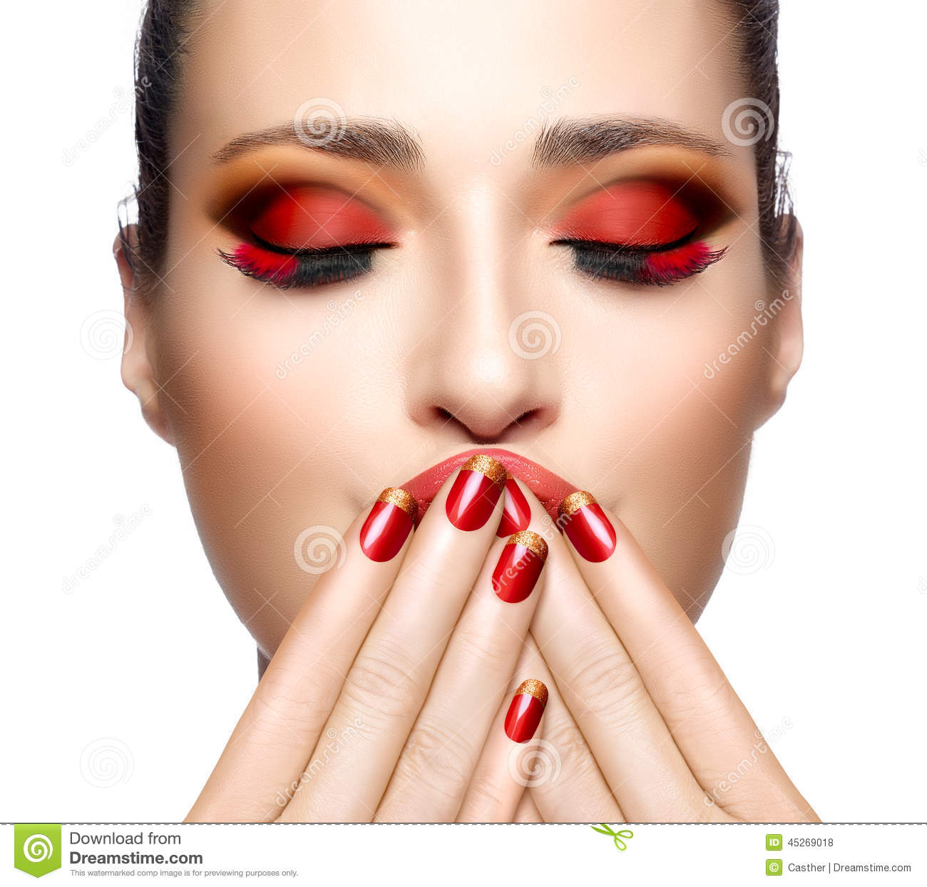 Free Manicure Beauty Hands Makeover: Beautiful Girl In Red With Hands On Her Face. Nail Art And