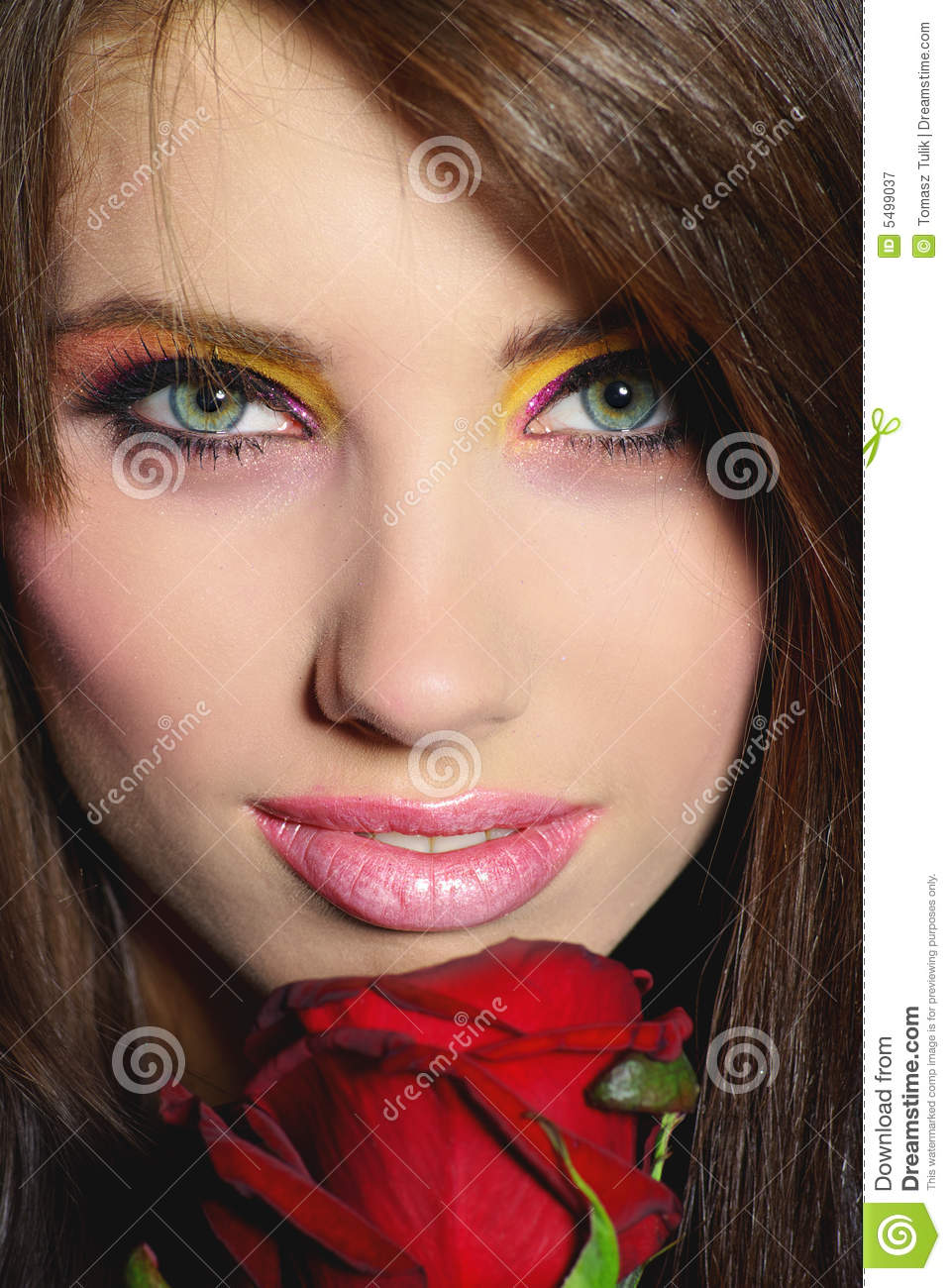 Beautiful Girl With Red Rose Stock Image Image Of Care Beauty