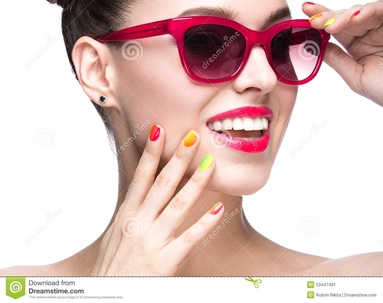 Beautiful Girl In Red Sunglasses With Bright Makeup And ...