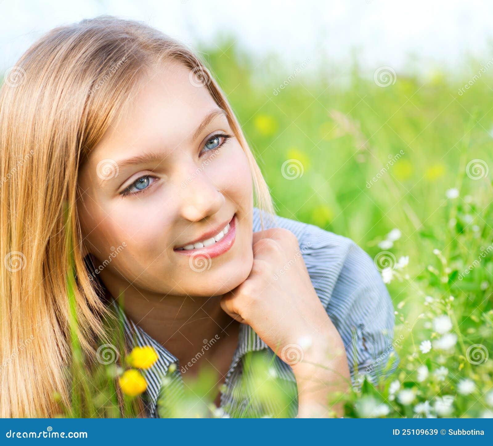 Beautiful Girl Relaxing outdoors