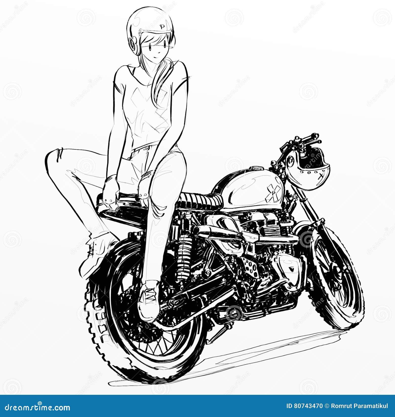 Pin up motorcycle line art jpg - Beautiful Cartoon Girl Illustration Motorcycle Pinup