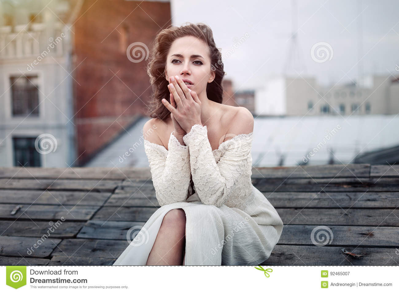 Beautiful Girl Sad Sitting On The Roof Lonely Woman In Depressive Mood On The Roof Stock Image Image Of Roof Autumn 92465007
