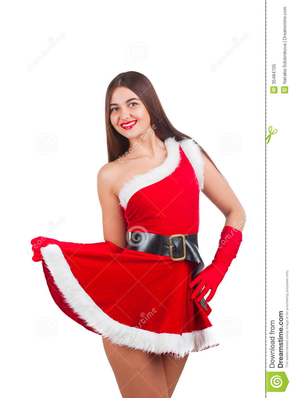 Pic Of Beautiful Shining Porcellain Kitchen Floors Tiles: Beautiful Girl In Santa Costume Stock Image