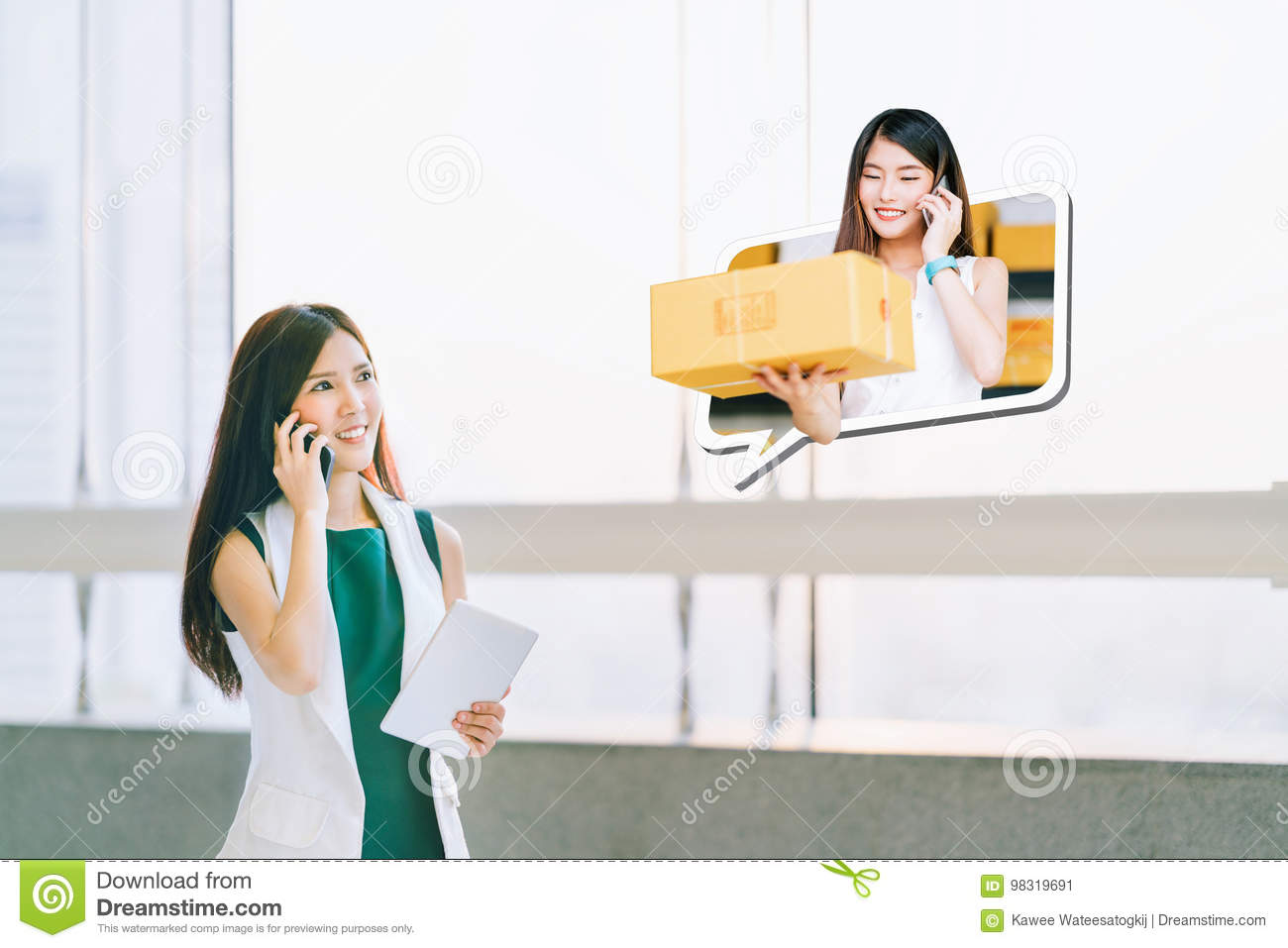 Beautiful girl shop using smartphone, online merchant deliver package. Ecommerce communication, SME shipping commercial concept