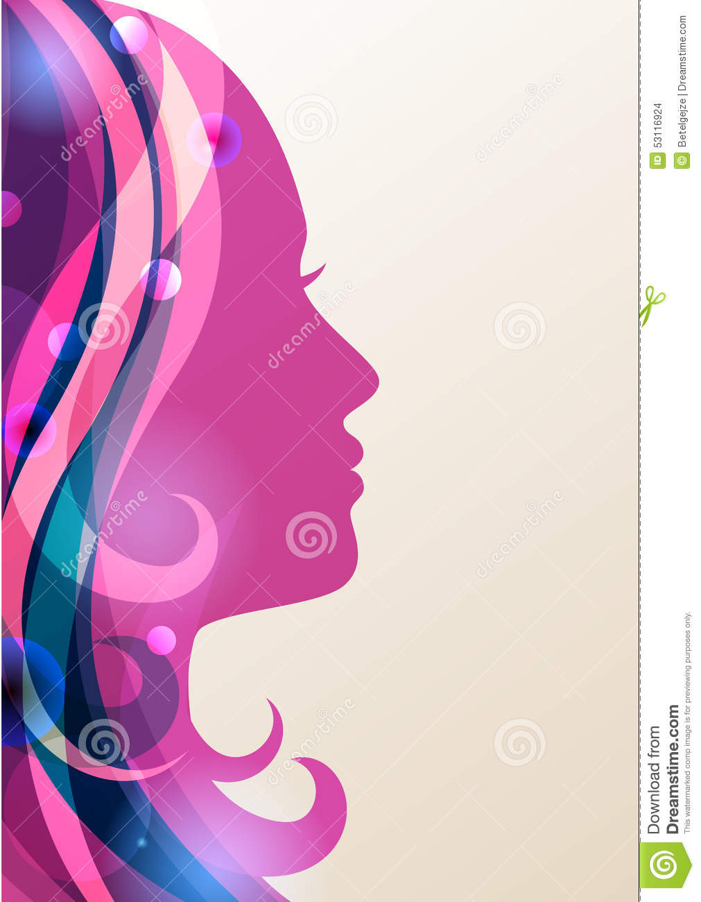 Beautiful girl silhouette with colorful hair vector for Abstract beauty salon