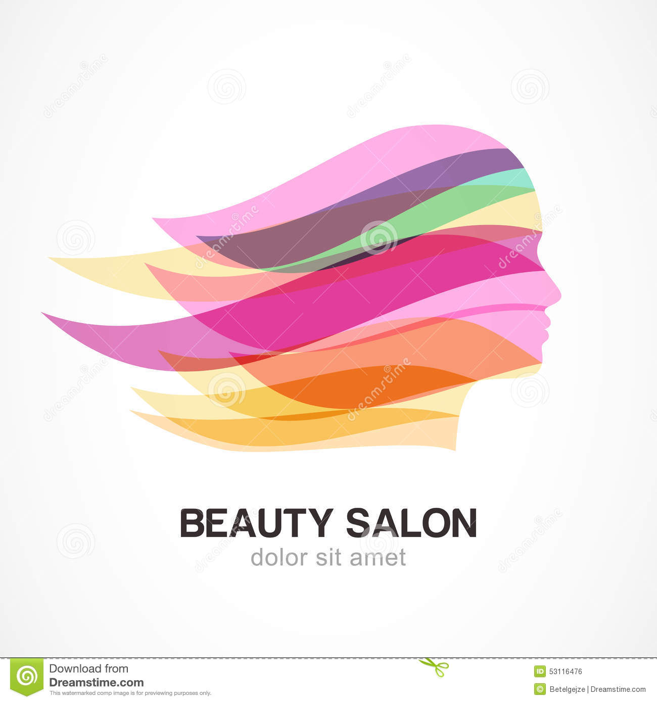 Beautiful girl silhouette with colorful streaming hair for Abstract beauty salon