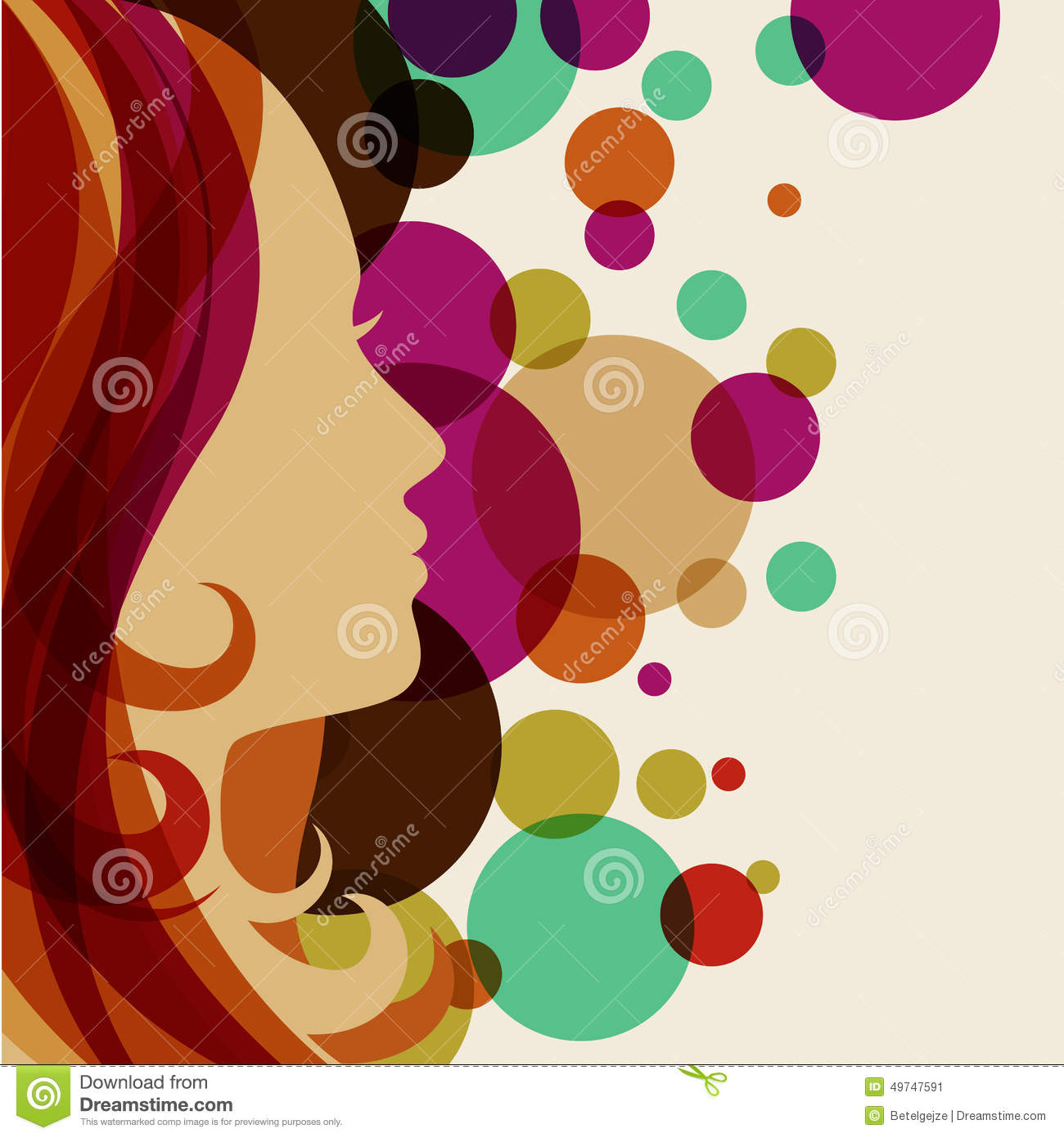 Beautiful girl silhouette with red hair vector background for Abstract salon of the arts