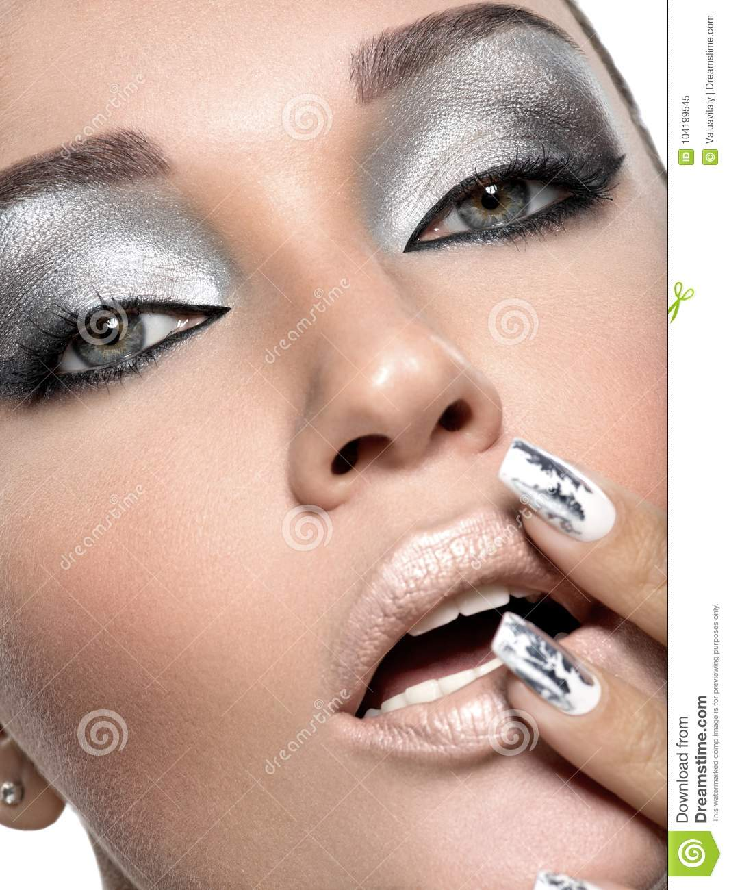 Beautiful Girl With The Silver Makeup And Nails. Stock Image - Image ...