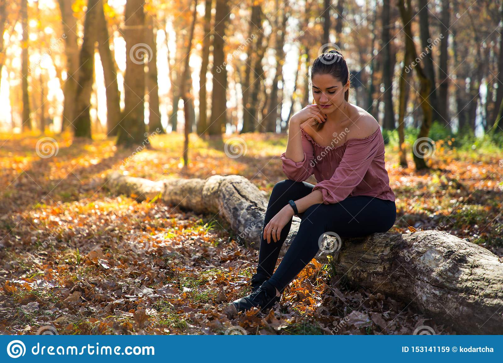 Beautiful girl siting on a trunk with orange foliage and golden sunlight