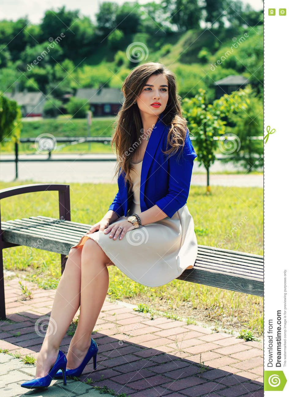 Beautiful Girl Sitting On Bench Stock Photo - Image of ...