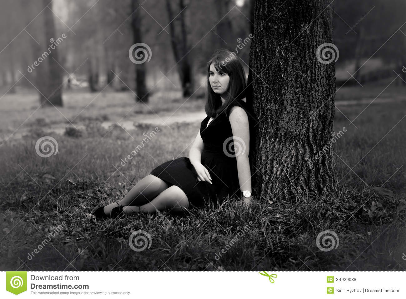 Beautiful Girl Sitting Under Big Tree Stock Photo Image