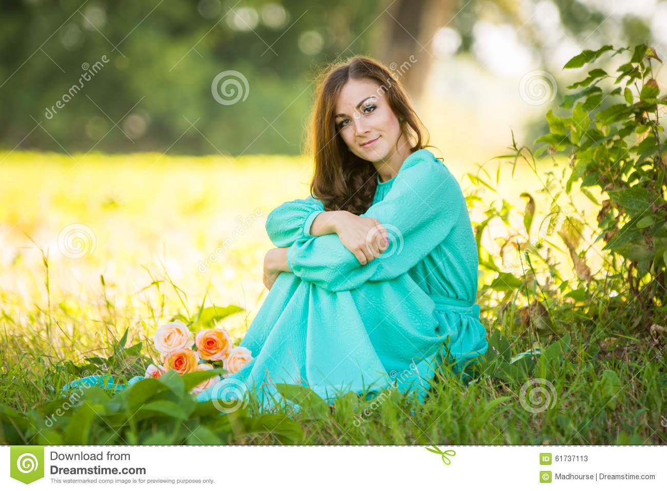 Pretty Fashion Girl Sitting Under A Tree With Royalty Free Stock ...