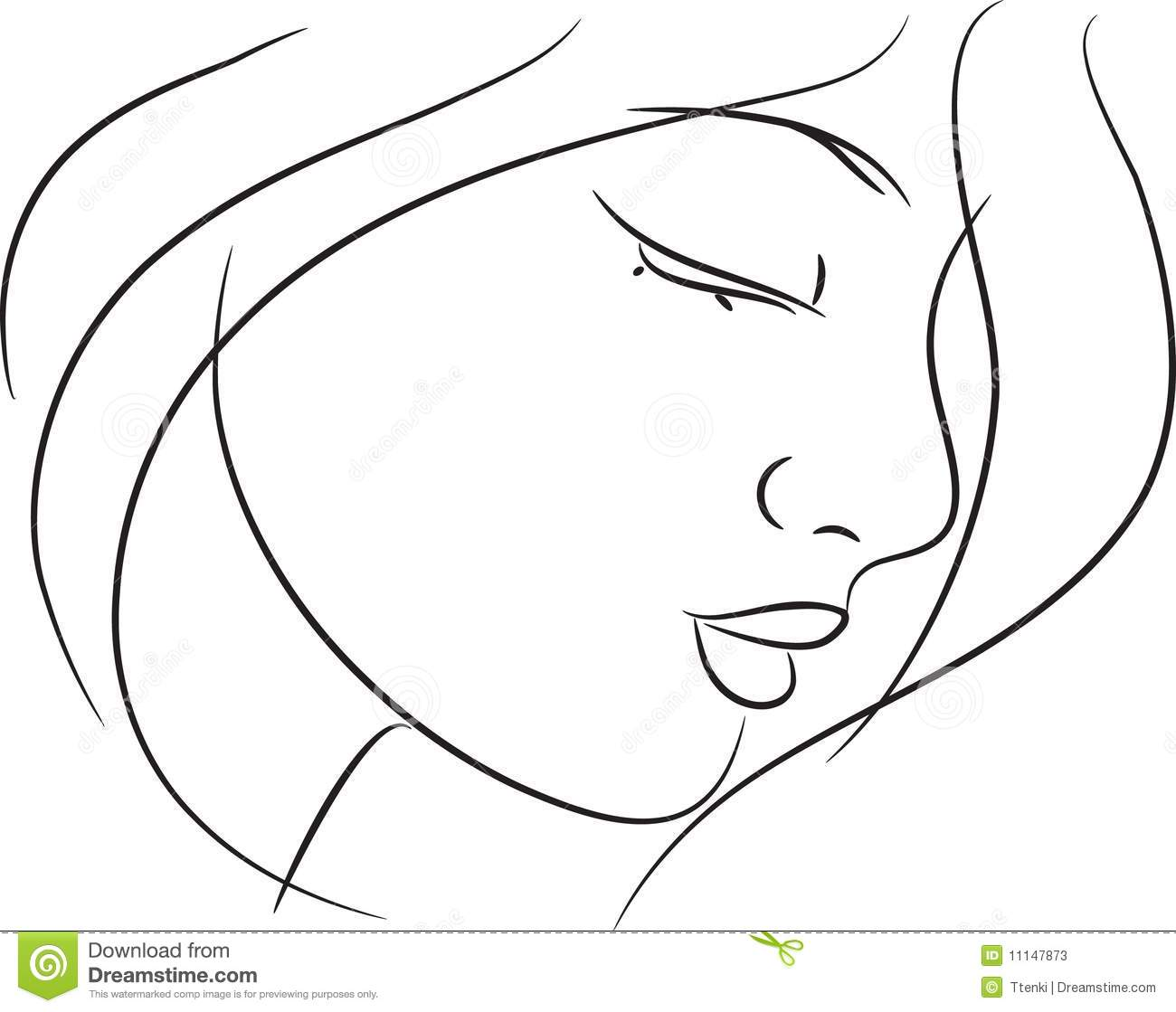 Beautiful Simple Line Art : Beautiful girl sketch stock photos image