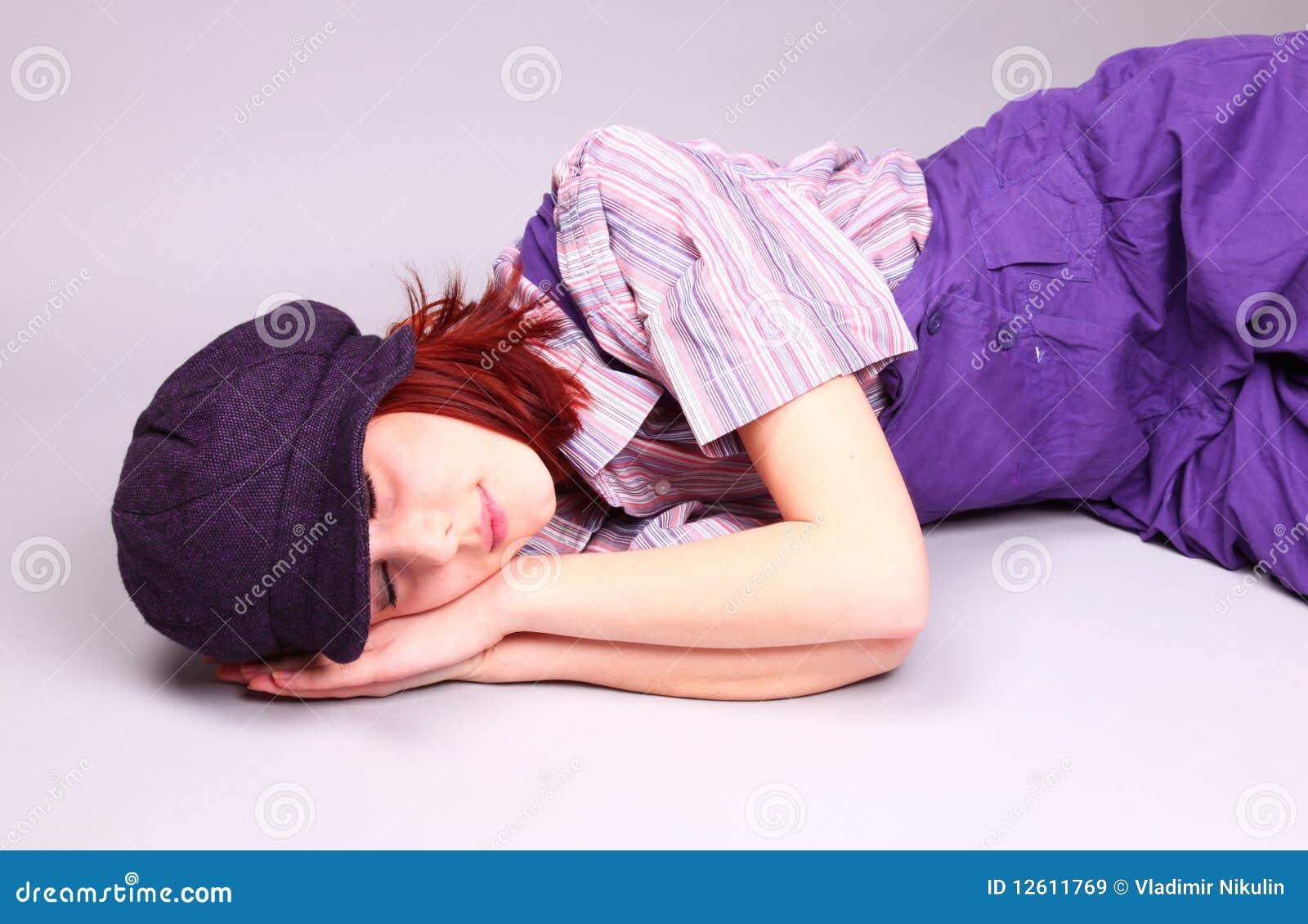 Beautiful Girl Sleeping At Floor Stock Image - Image 12611769-5097