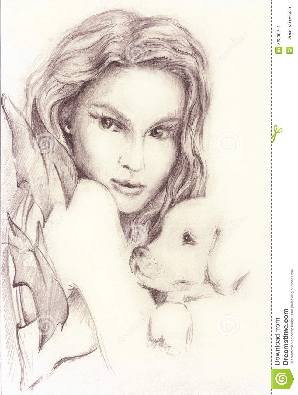 Free beautiful girl with a small dog baby beauty with drawings of babies