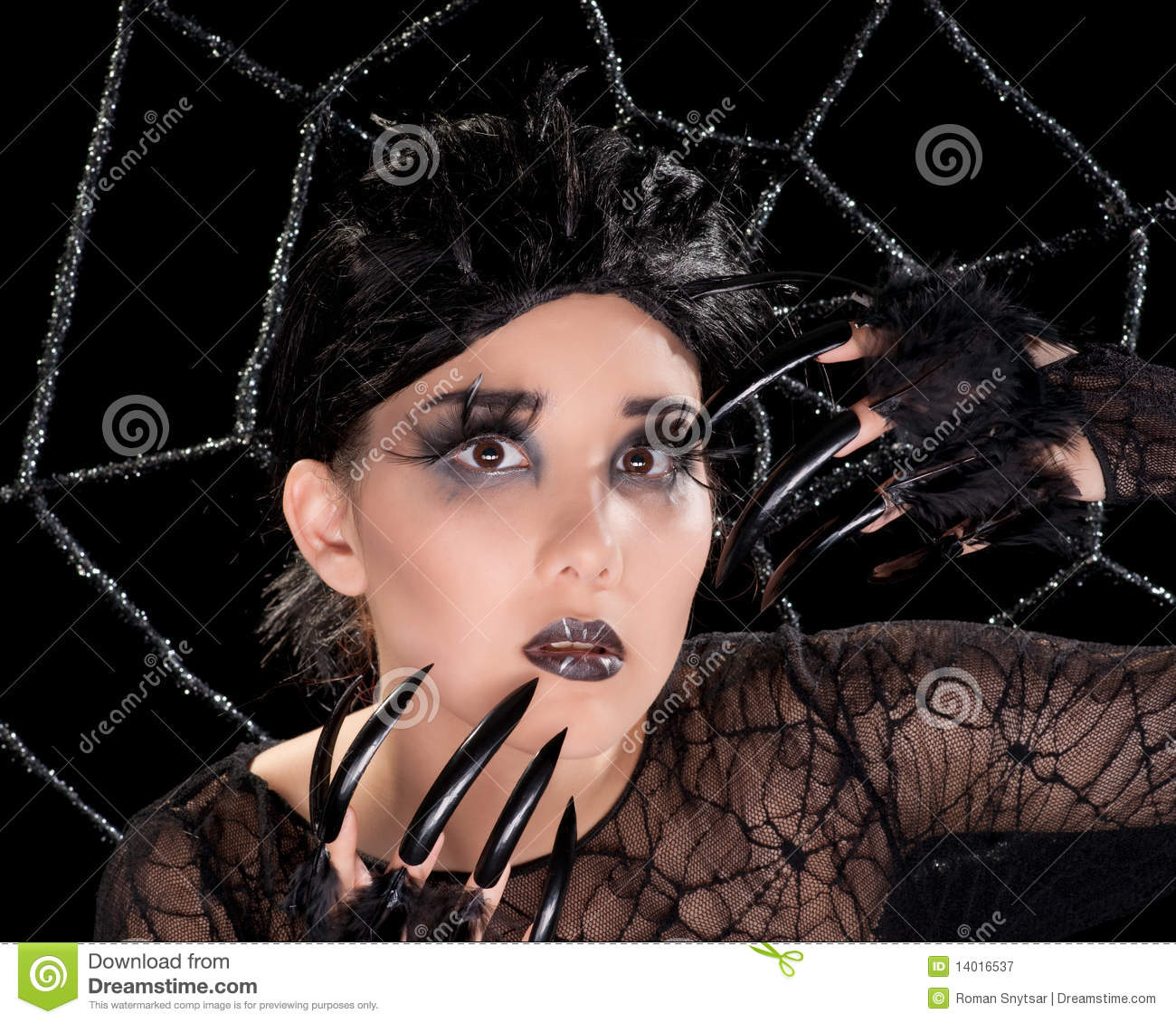 beautiful girl with spider makeup stock image image 14016537. Black Bedroom Furniture Sets. Home Design Ideas