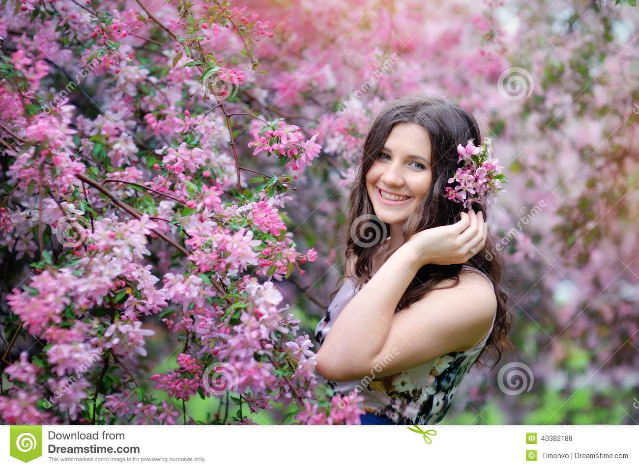 Beautiful girl in spring park with flowers stock photo image of beautiful girl in spring park with flowers izmirmasajfo