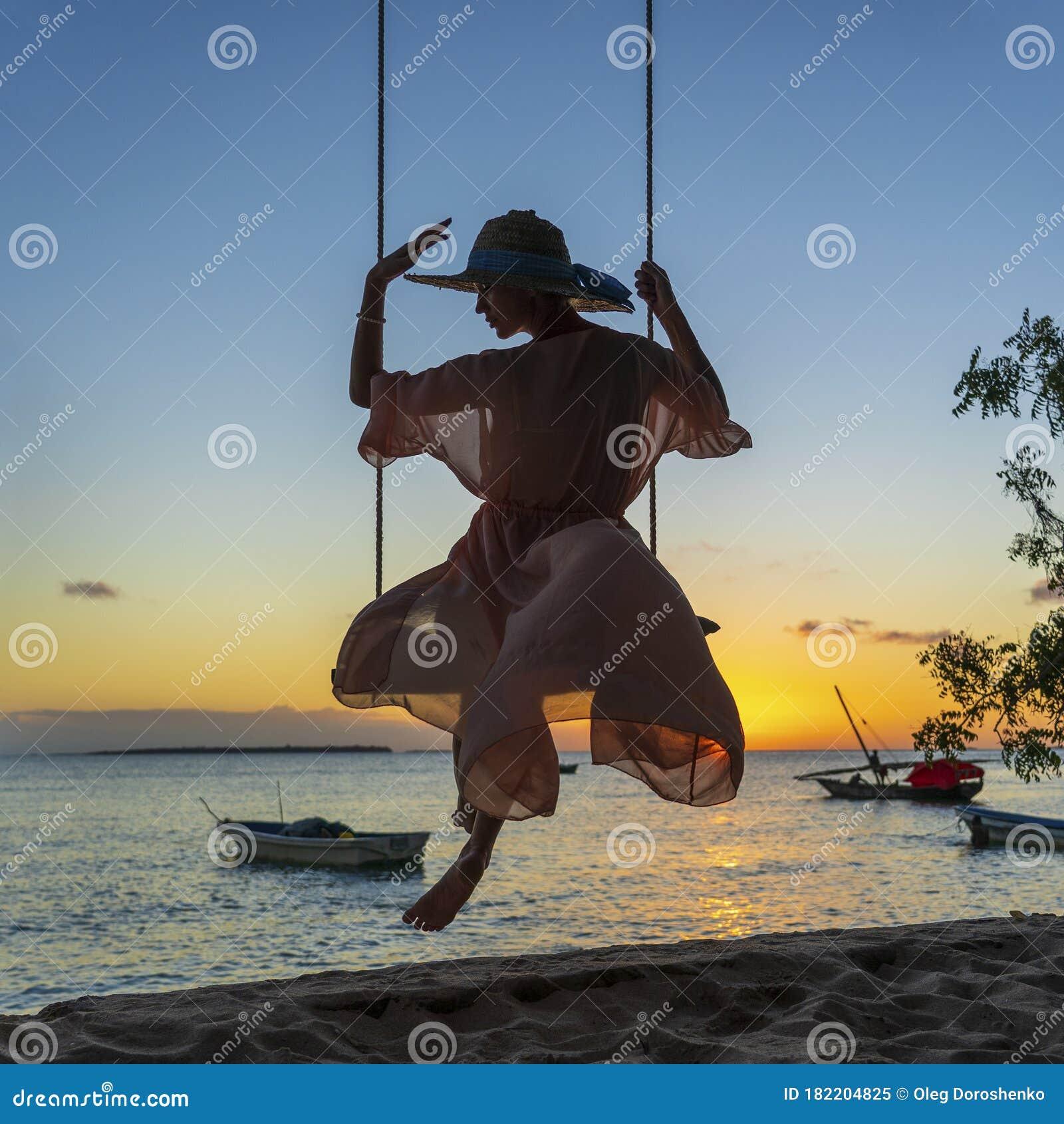 Zanzibar Tanzania, Little Muslim Girl On The Beach