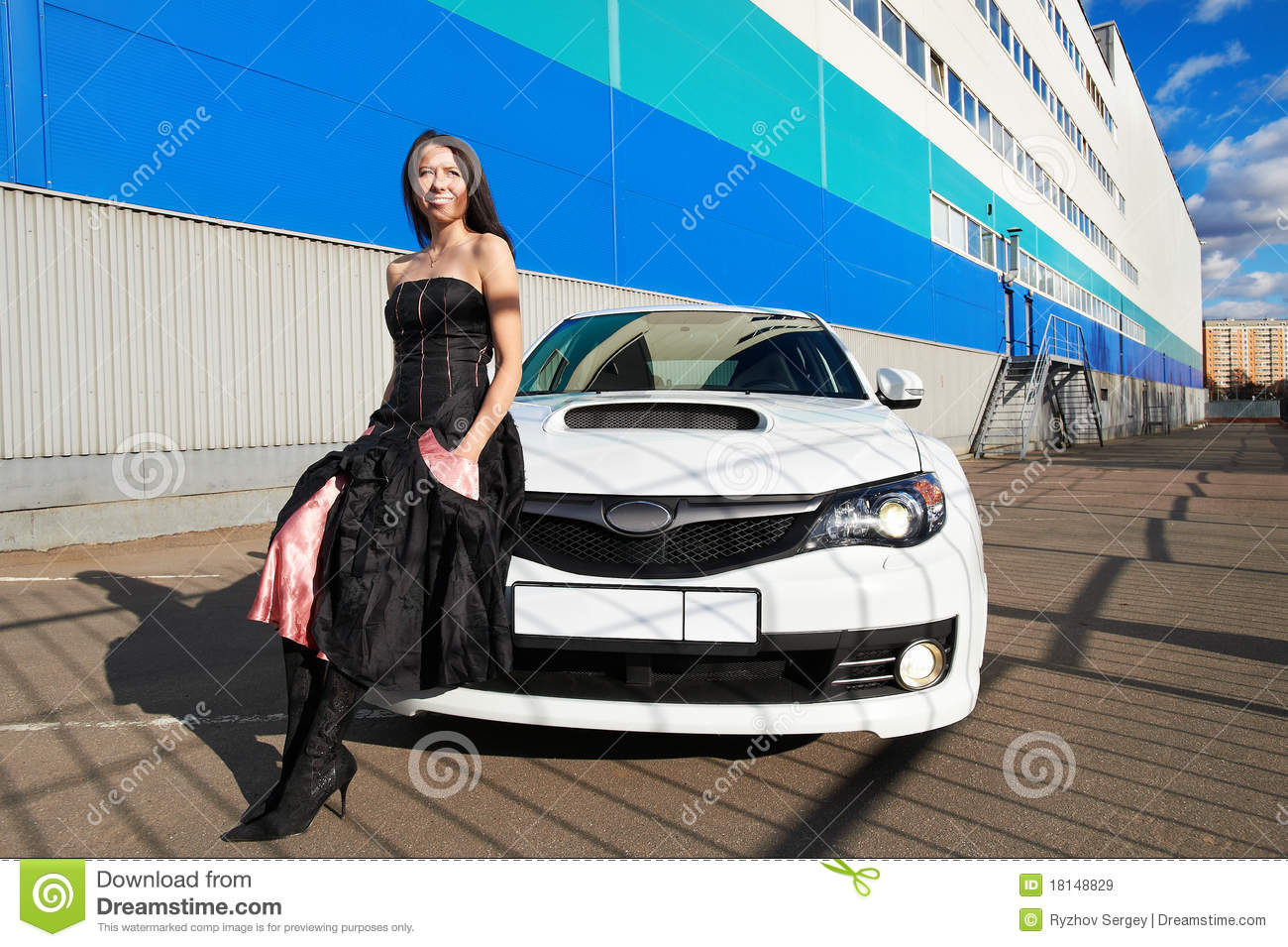 Blond Beautiful Black Sport Car Young Girl Royalty Free