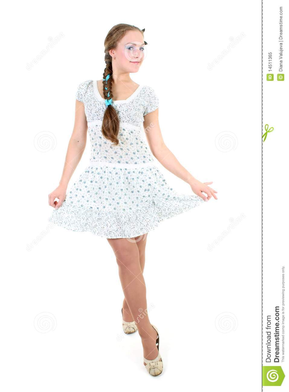 Beautiful Girl In Sundress With Plait